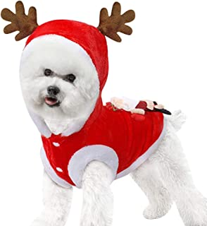 Yotaini Pet Durable Cozy Breathable Reindeer Coat Christmas Elk Costume Dog Clothes Winter Puppy Holiday Apparel Outfit Dog Party Dress Up Hoodie