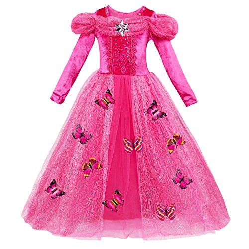 IBAKOM - Disfraz de Cenicienta para niña, Vestido de Princesa para Halloween, Navidad, Fiesta de Disfraces, Cuento de Hadas, Cosplay, Vestido Grande Color Rosa (Manga Larga). 140