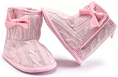 ZUMUii Butterme Bebé Infant Toddler Girls Soft Sole Antideslizante Prewalker Shoes Botas de Nieve Calcetines con Bowknot y Forro Polar Cálido(Rosado,13CM)