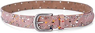 Rivet Inlay Women's Fashion Casual Leather Belt. (Color : Pink)