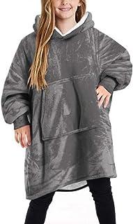Kids Oversized Blanket Hoodie, Fluffy Sherpa Fuzzy Fleece Comfy Giant Hooded Sweatshirt for Children Teens
