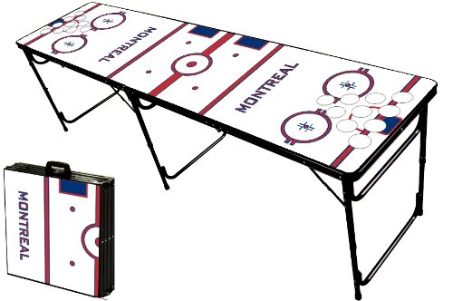 %10 OFF! 8-Foot Professional Beer Pong Table w/Holes - Montreal Hockey Rink Graphic