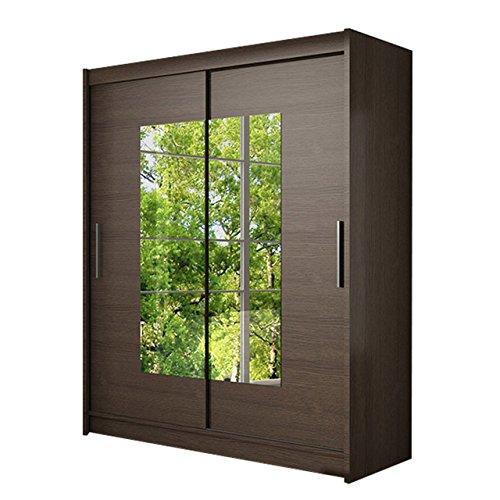 Schwebetürenschrank Westa III Kleiderschrank mit Spiegel, Modernes Schlafzimmerschrank, Schiebetürenschrank, Garderobe, Schlafzimmer (Choco)