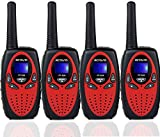 Retevis RT628 Walkie Talkies for Kids,22 Channels 2 Way Radio Long Range Toy for 4-12 Year Old Boys Girls,Handheld Two Way Radio,Kids Toy for Outside, Camping, Hiking(4 Pack,Red)