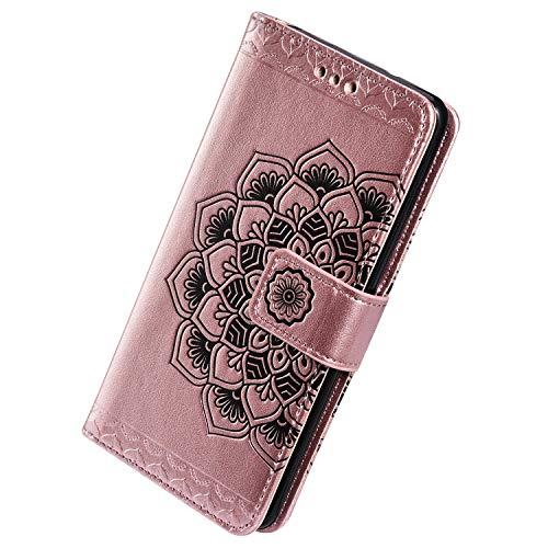 Herbests Kompatibel mit Samsung Galaxy S10 Hülle Schutzhülle Leder Hülle Retro Mandala Blumen Muster Handyhülle Tasche Klapphülle Wallet Flip Case Magnet Ständer Kartenfächer,Rose Gold
