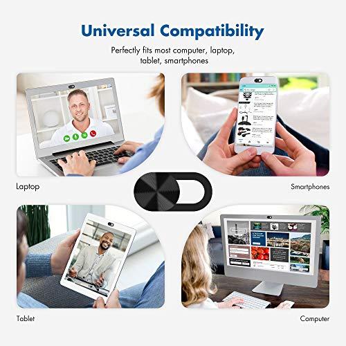 KIWI Design Webcam Cover Folie 6er Pack Ultradünne Laptop Kamera Cover Folie Kamera Blocker Schützen Sie die Privatsphäre für Computer Desktop Smartphone (Schwarz)