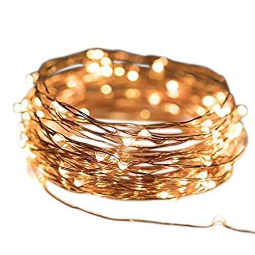 Micro LED lichterkette warmweiß Draht-Lichterkette Leuchtdraht mit mini Tropfen auf Silberdraht Weihnachtsbeleuchtung (60er LED 3m Batterie)