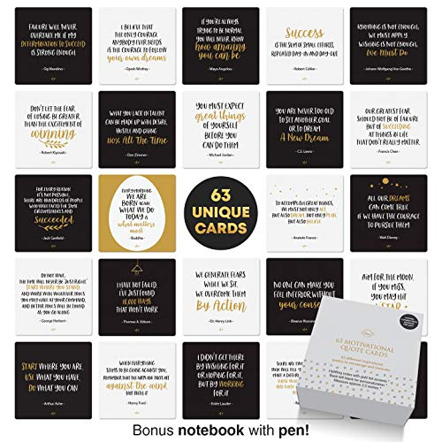 Dessie Motivational Cards - 63 Unique Encouragement Cards Deck with Inspirational Quotes. Bonus Inspirational Notebook with Pen