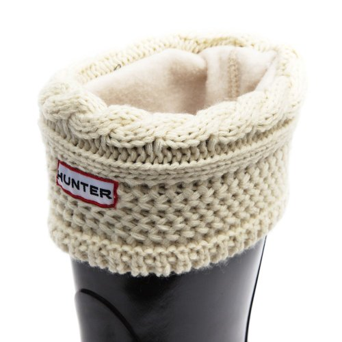 Hunter Women's Original Short Moss Cable Knitted Cuff Welly Socks-Cream-Large (UK 6-8) Size Large (UK 6-8)