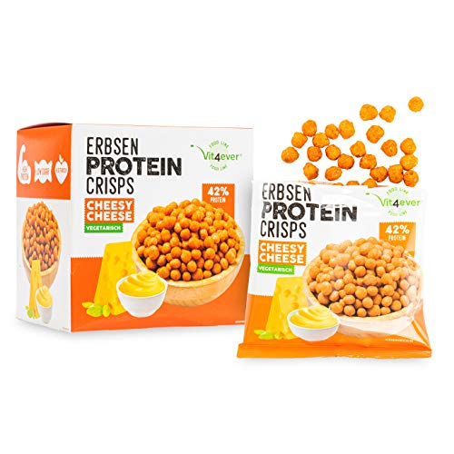High Protein Erbsen Crisps - 42% Protein Fitness Snack - Mit Erbsenprotein - Low Sugar & Low FAT - Ideal zur Diät Fitness - 5x 60g (Cheesy Cheese) - Alternative zu Chips - Vegetarisch