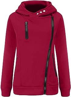 Women Zipper Sweatshirt with Hoodie,Casual Patchwork Hoodies Long Sleeve Pullover Sweatshirt Side Pocket Blouse Tops