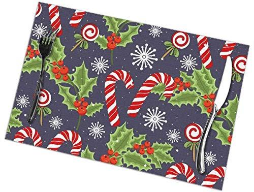 geckor Christmas Lollipop Waschbare schmutzabweisende Tisch Tischsets 12 x 18 Zoll für Küche Dining Home 6er-Set