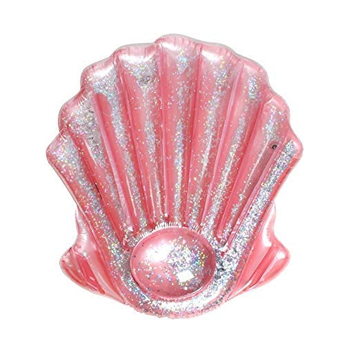 Gcxzb Schwimmreifen Rosa Muschel mit Glitter 140 cm Riesige Liegen aufblasbare Poolflöße Luftmatratze Strandliege Wasser Floate Spaß Spielzeug Schwimmenring