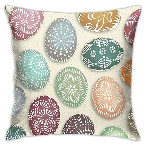 wteqofy Lithuanian Easter Eggs Throw Pillow Covers 18x18inches Home Decor Pillowcase Cushion Covers for Sofa Bedroom Livingroom