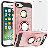 Asuwish Compatible with iPhone 6plus 6splus 6/6s Plus Case Tempered Glass Screen Protector Cover and Stand Ring Holder Phone Cases for iPhone6 6+ iPhone6s 6s+ i 6P 6a S Six iPhone6splus Rose Gold