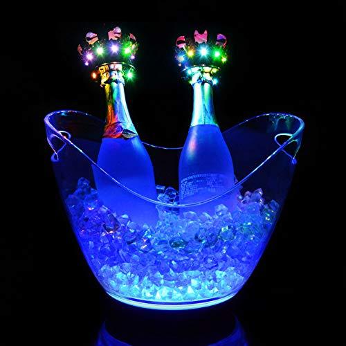 Cubos de Hielo Luminosos LED de 8L Colorido Degradado acrílico Transparente Impermeable Cubo Enfriador de champán para Fiesta en casa Bar KTV Club