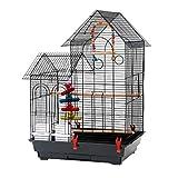 Voliere Oiseaux Interieur, Cage à Oiseaux avec 2 Toits, Équipée 2...