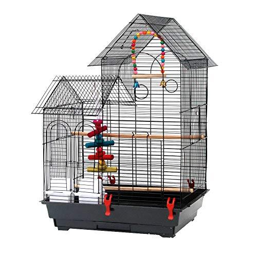 Voliere Oiseaux Interieur, Cage à Oiseaux avec 2 Toits, Équipée 2 Perchoir en Bois, 2 Mangeoires, 2 Jouets, Cage d'Elevage Oiseaux en Métal Perruche Perroquet Canari, 52 x 41 x 76cm, Noir