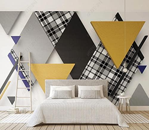 Papel tapiz 3D retro triángulo a cuadros mosaico fondo geométrico wall-150 * 105cm