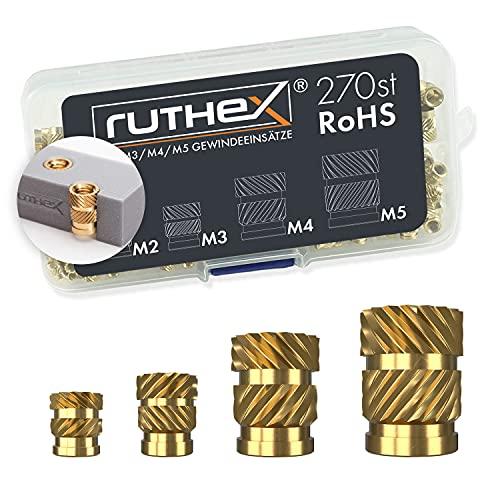 ruthex Gewindeeinsatz M2 + M3 + M4 + M5 Sortimentskasten – 70 + 100 + 50 + 50 Stück Gewindebuchsen aus Messing – Einpressmutter für Kunststoffteile – durch Wärme oder Ultraschall für 3D-Druck-Teile