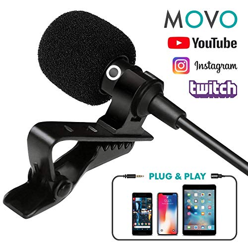 Movo PM10 Lavalier Microphone and Lapel Microphone for iPhone, iPad, Android, and Other Smartphones - Easy Clip on Microphone Perfect for Recording a Podcast, Vlog, Interview, YouTube