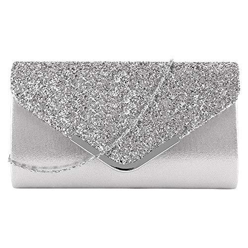 MEGAUK Damen Clutch Glitzer Elegant Abendtasche Glänzend Handtasche Envelope Tasche Strass Unterarmtasche mit Kette für Hochzeit Wedding Prom Party (Mode Silber)
