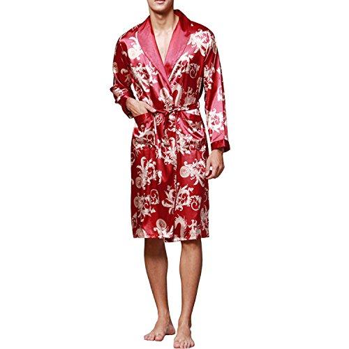 Sidiou Group Kimono Bata Hombre Batas y Kimonos Manga Larga Bata de Satén Camisón Saten Bata Albornoz (Vino Rojo, M)