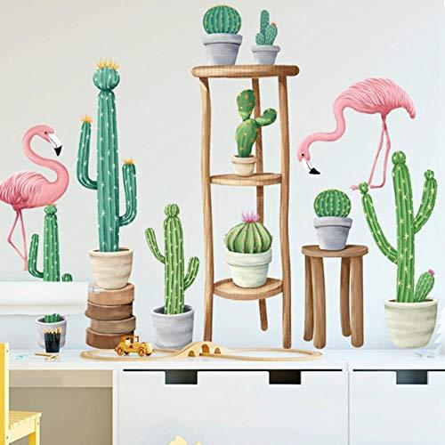 gao Flamingo Cactus Pvc bloempot voor muur Stickers Woonkamer Kids kamer Vinyl Verwijderbare muur Stickers Home Decor