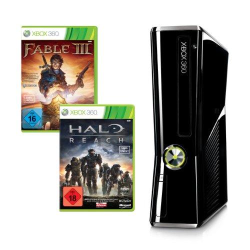 Xbox 360 - Konsole Slim 250 GB inkl. Halo: Reach + Fable III (Limited Edition), schwarz-glänzend
