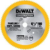 DEWALT 6-1/2-Inch Circular Saw Blade for Paneling/Vinyl, 90-Tooth (DW9153),Yellow