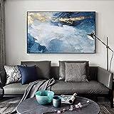 RuiChuangKeJi Cuadros de Pared 70x90cm Sin Marco Lámina Dorada Abstracta Moderna Río Azul para Sala de Estar Dormitorio Carteles e Impresiones Cartel de Pared Decoración del hogar