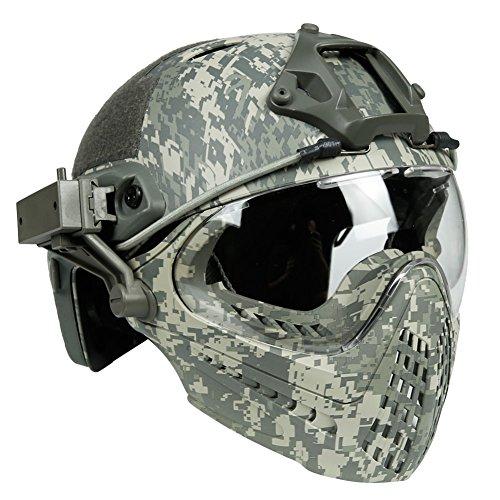 PJ Tactical Fast Helm & Full-Covered Militärischer Protective Army Combat Airsoft Paintball Helm Schützen Sie die Ohren mit Einer Maskenbrille