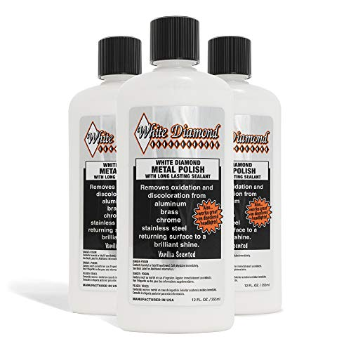 WHITE DIAMOND Metal Polish - Perfect for Stainless Steel, Brass, Aluminum, Chrome, Gold, Silver - Multi-Purpose Cleaner, Sealant, Rust Remover/Preventer for Cars, Jewelry, Boats & More - 3 Bottles