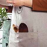 Lindong Süß Kartoon Schürze mit Tasche für Frauen Kinder Wasserdicht Baumwolle Leinen Küchenschürze Latzschürze Kochschürze Erwachsene Grau - 6