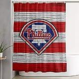 G-III Sports Philadelphia Phillies Fabric Shower Curtains for Bathroom Waterproof Cloth Bath Curtain with 12 Hooks Decorative Bathroom Curtain 59 X 70 in