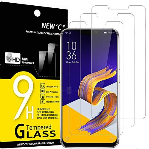 NEW'C 3 Unidades, Protector de Pantalla para ASUS Zenfone 5 ZE620KL, Antiarañazos, Antihuellas, Sin Burbujas, Dureza 9H, 0.33 mm Ultra Transparente, Vidrio Templado Ultra Resistente