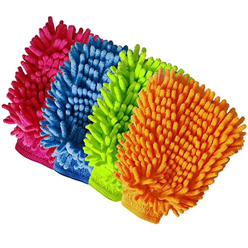 Aeroway Chenille Microfiber Premium Scratch-Free Car Wash Mitt - Double Sided, 4 Pack, 4 Color,Regular Size
