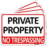 TICONN 4-Pack Private Property Sign, No Trespassing Aluminum Warning Sign, 7''x10'' for Security Alert, Reflective, UV Protected & Waterproof