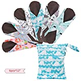Teamoy 6Pcs 12 Inch Reusable Sanitary Pads, Cloth Menstrual Pads Washable Period Pads with Charcoal...