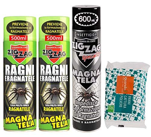 Zig Zag, set Magnatela, Insetticida per Ragni e Ragnatele ad alta residualità, previene formazione di ragnatele fino a 40 giorni, 2 x 500 ml, 1 x 600ml più 20 pezzi panni cattura polvere.