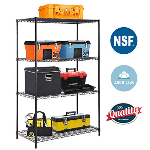 BestOffice 4-Tier Wire Shelving Unit Steel Large Metal Shelf Organizer Garage Storage Shelves Heavy Duty NSF Certified Commercial Grade Height Adjustable Metal Rack 4000 LBS Capacity (Black)
