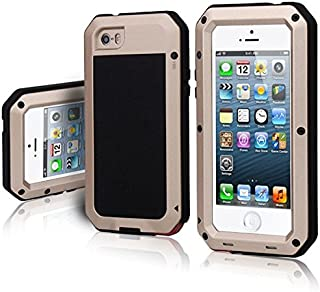 iPhone 5/5S Case, WEITOP Extreme Hard Military Heavy Metal Armor Tank Gorilla Glass Shockproof Rainproof Dust/Dirt/Snow Proof Anti-smudge Resistant Protection Cover For iPhone SE (Gold)