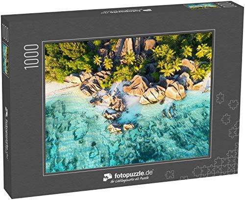 fotopuzzle.de Puzzle 1000 Teile Sonnenuntergang am wunderschönen ANSE Source D`Argent Strand auf den Seychellen, Luftbildaufnahme der Drohne