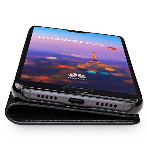 WIIUKA Echt Ledertasche -TRAVEL- für Huawei P20 mit Kartenfach, extra Dünn, Tasche Schwarz Premium Design Leder Hülle