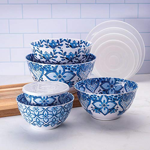 10 Piece Melamine Mixing Bowl Set Blue'French Country'