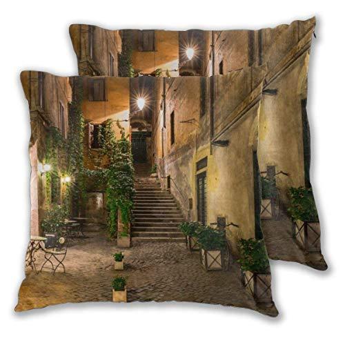 AEMAPE Square Throw Kissenbezüge, Old Courtyard 2 Pack dekorative Kissenbezüge Kissenbezüge für Sofa Schlafzimmer Auto 40X40 cm
