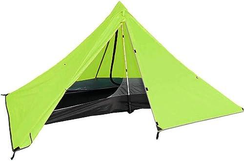 Sortie Udstyr, 1 Personne Triangle Camping Tente Double Couche Tente Pyramid Portable Extérieure Légère Extérieure, 3 Couleurs, Kejing Miao, JAUNE