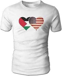 YOIGNG Hawaiian 3D Printed Palestine Flag and American Flag T-Shirt Short Sleeve Crewneck Tee Pullover Casual Tops