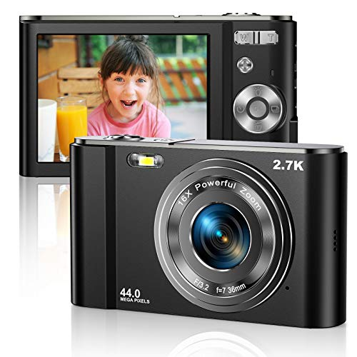 Digital Camera 2.7K Ultra HD Mini Camera 44MP 2.8 Inch LCD Screen Rechargeable Students Compact Camera Pocket Camera with 16X Digital Zoom YouTube Vlogging Camera for Kids,Adult,Beginners (Black)