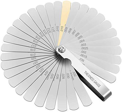 Spurtar 隙間ゲージ スキマゲージ シンシックネスゲージ ステンレス シックネスゲージ バイク 折りたたみ式 32枚 0.04mm~0.88mm